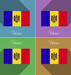 Flags Moldova Set of colors flat design and long vector image vector image