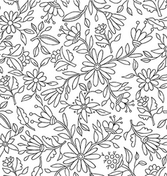 Flower background in black and white for coloring vector image vector image