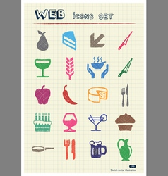 Food icons set drawn by color pencils vector image