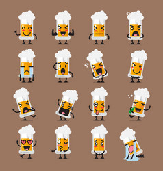 Glass of beer character emoji set vector