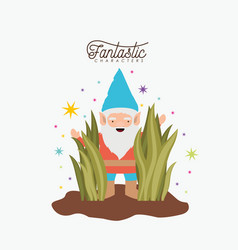 gnome fantastic character coming out of the bushes vector image vector image