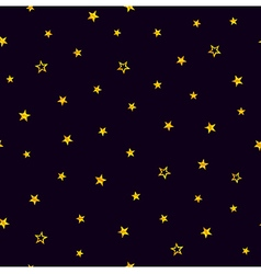 Gold stars on a purple background Seamless pattern vector image