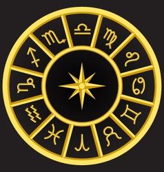 Golden zodiac symbols circle vector