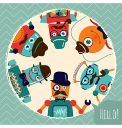 Hipster retro robots card vector