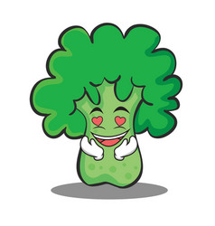 in love broccoli chracter cartoon style vector image