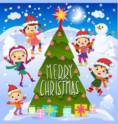 Merry christmas 2017 winter fun cheerful kids vector