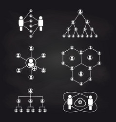 People connection icons on blackboard background vector