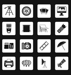 Photo studio icons set squares vector