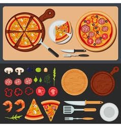 Pizza on the plate and ingredients for pizza vector