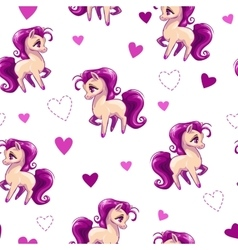 Seamless pattern for girls with little horse vector
