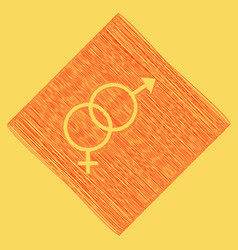 Sex symbol sign red scribble icon vector