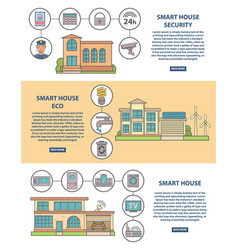 Smart house concept horizontal banner set vector