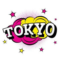 Tokyo comic text in pop art style vector