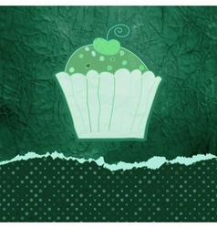 Vintage birthday card with cupcake EPS 8 vector image vector image