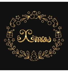 Xmas christmas golden lettering design vector
