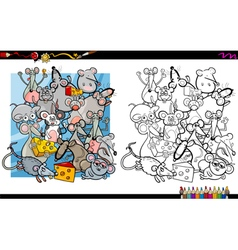 Mouse characters coloring book vector
