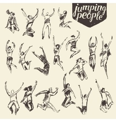 Set sketches silhouette jumping persons vector