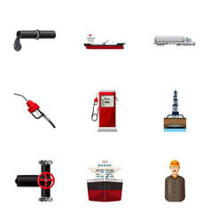 Gasoline icons set cartoon style vector