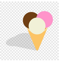 mixed ice cream scoops in a cone isometric icon vector image