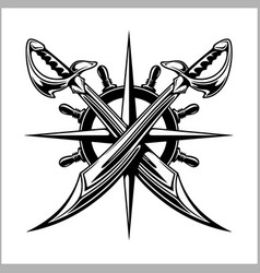 Pirates emblem - steering wheel and crossed swords vector