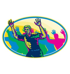 Happy Marathon Runner Running Oval Retro vector image