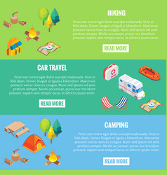 travel web banner camping objects in vector image
