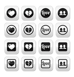 Love heart couple buttons for valentines day vector