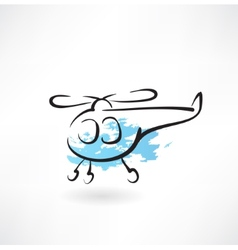 Helicopter grunge icon vector