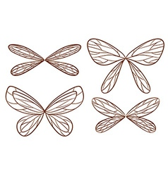 Simple sketches of fairy wings vector