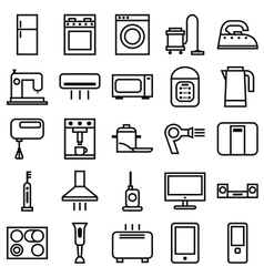 Home appliances linear icons vector