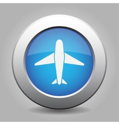 Blue metal button with airplane vector