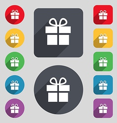 Gift box icon sign a set of 12 colored buttons and vector
