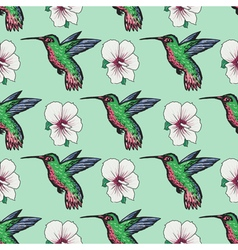 Seamless background with hummingbird vector
