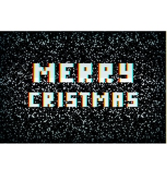 Merry christmas card technology concept pixel vector