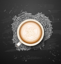 Coffee latte on background planet earth travel the vector