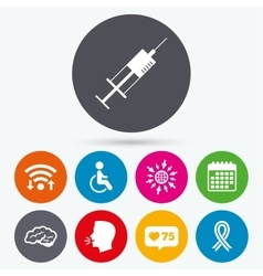 Medicine icons syringe disabled brain vector