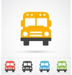 Bus trendy color icons vector