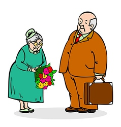 Happy seniors couple old man with a bouquet vector