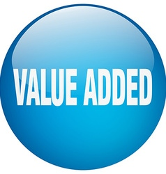 Value added blue round gel isolated push button vector