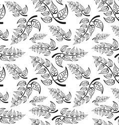Branch with leaves seamless pattern on white vector