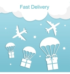 Concept of fast delivery airplane with gift boxes vector
