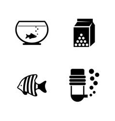 aquarium fish simple related icons vector image
