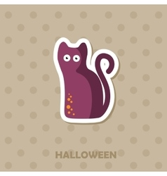 Black cat icon halloween sticker vector