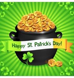 Black pot of leprechauns gold with lucky clovers vector