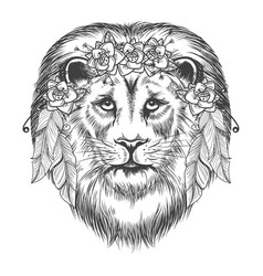 Boho style sketch lion with flowers vector