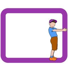 Boy holding frame vector
