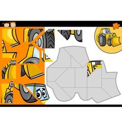 Cartoon bulldozer jigsaw puzzle game vector