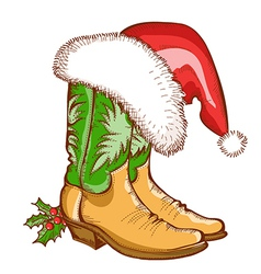 Christmas cowboy boots and santa hat vector