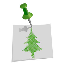 Christmas tree drawn by hand on paper for notes vector