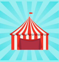 Circus show banner with striped tent poster vector